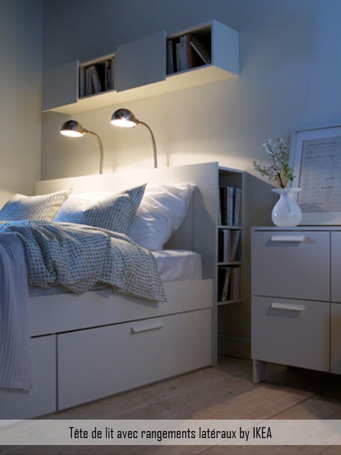 tête de lit rangements latéraux ikea