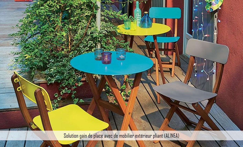 solution gain de place mobilier extérieur pliant alinea