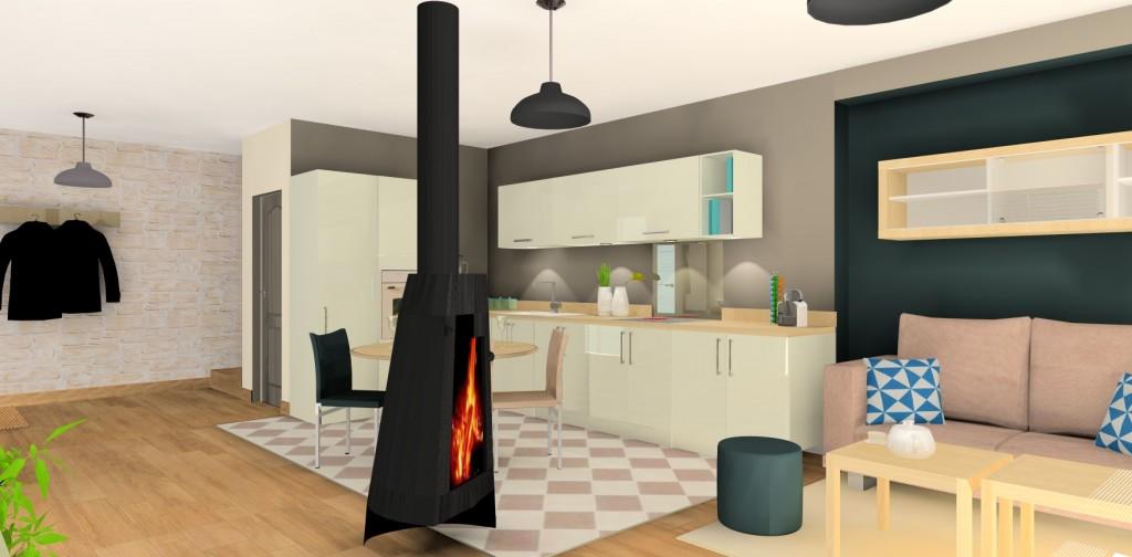 Plan de cuisine ouverte sur salon images book covers for Deco cuisine 3d