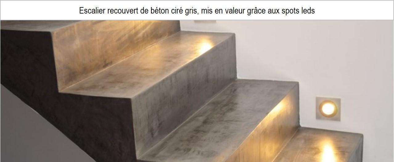 escalier béton ciré gris