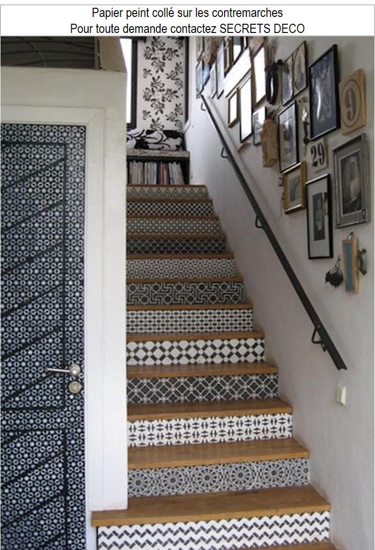 escalier contremarche papier peint adhésif