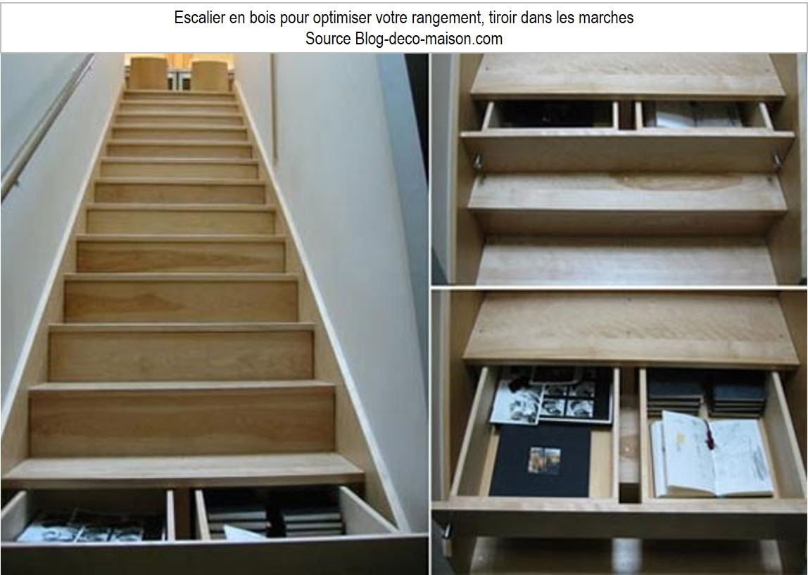 escalier rangement marches