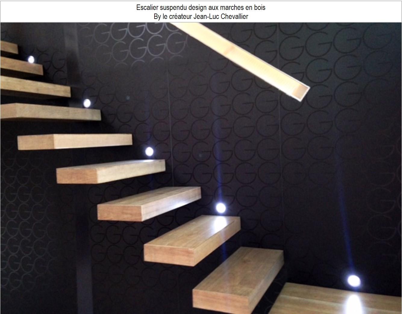 escalier suspendu design marches bois
