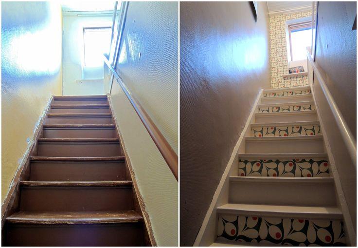 contre marche en papier peint, décoration escalier