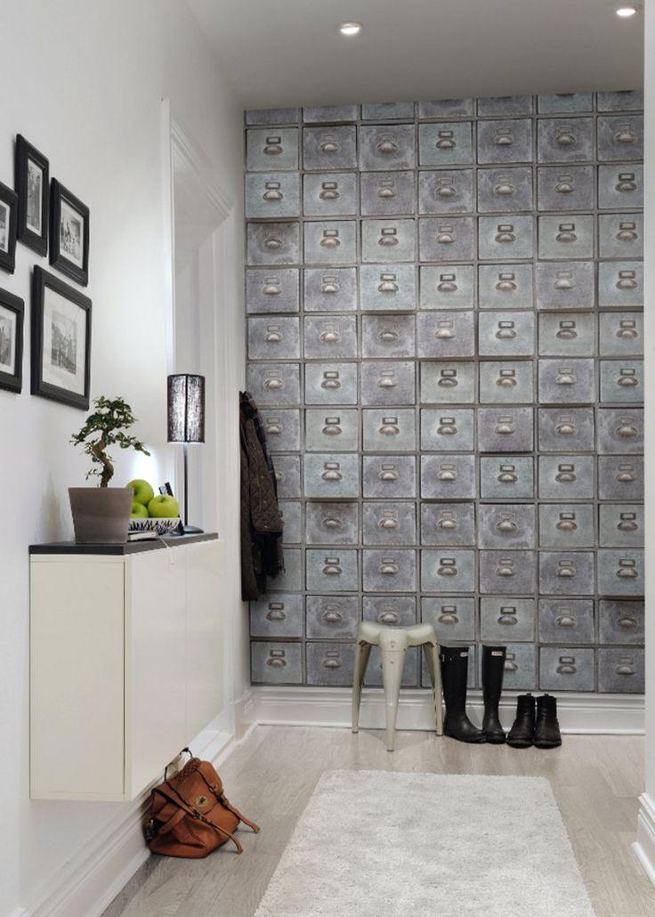 papier peint casiers pour une entrée