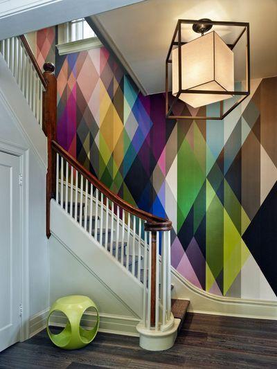 papier peint circus géométrique couleurs
