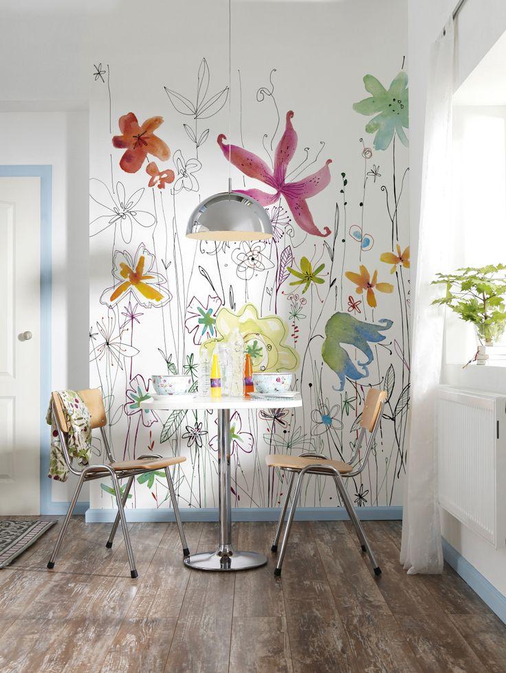 papier peint fleurs komar