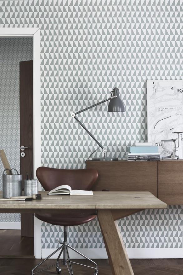 papier peint géométrique gris et blanc