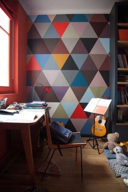 papier peint mosaic géométrique couleurs