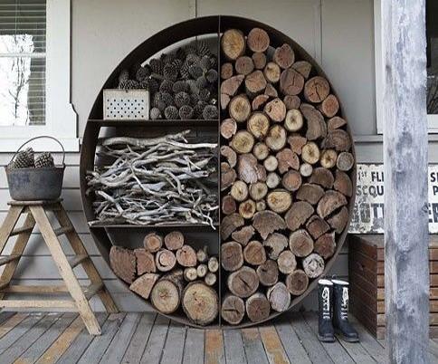 rangement buches bois extérieur