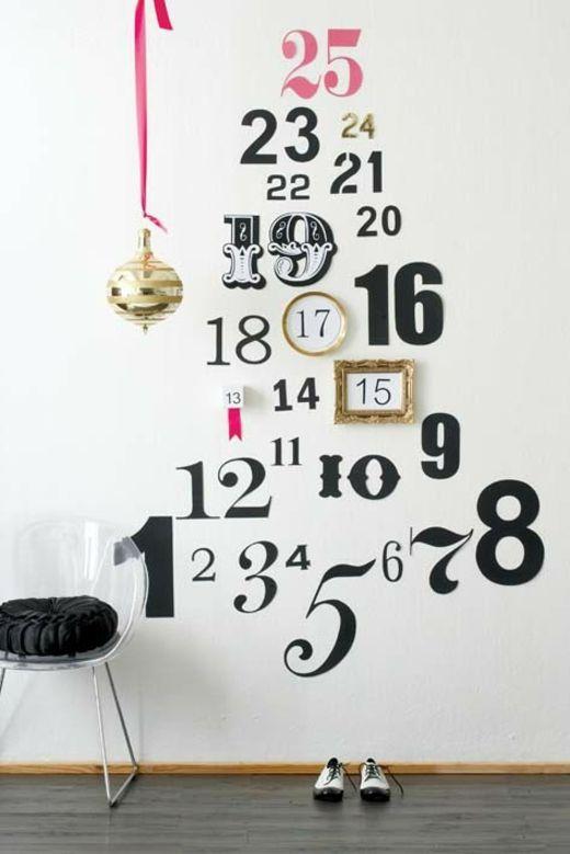 sapin original calendrier chiffres stickers mur