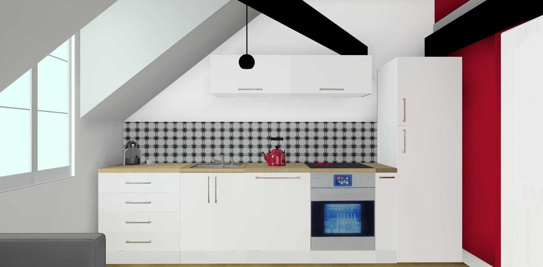 simulation 3D cuisine blanche et noire avec une touche de rouge cerise