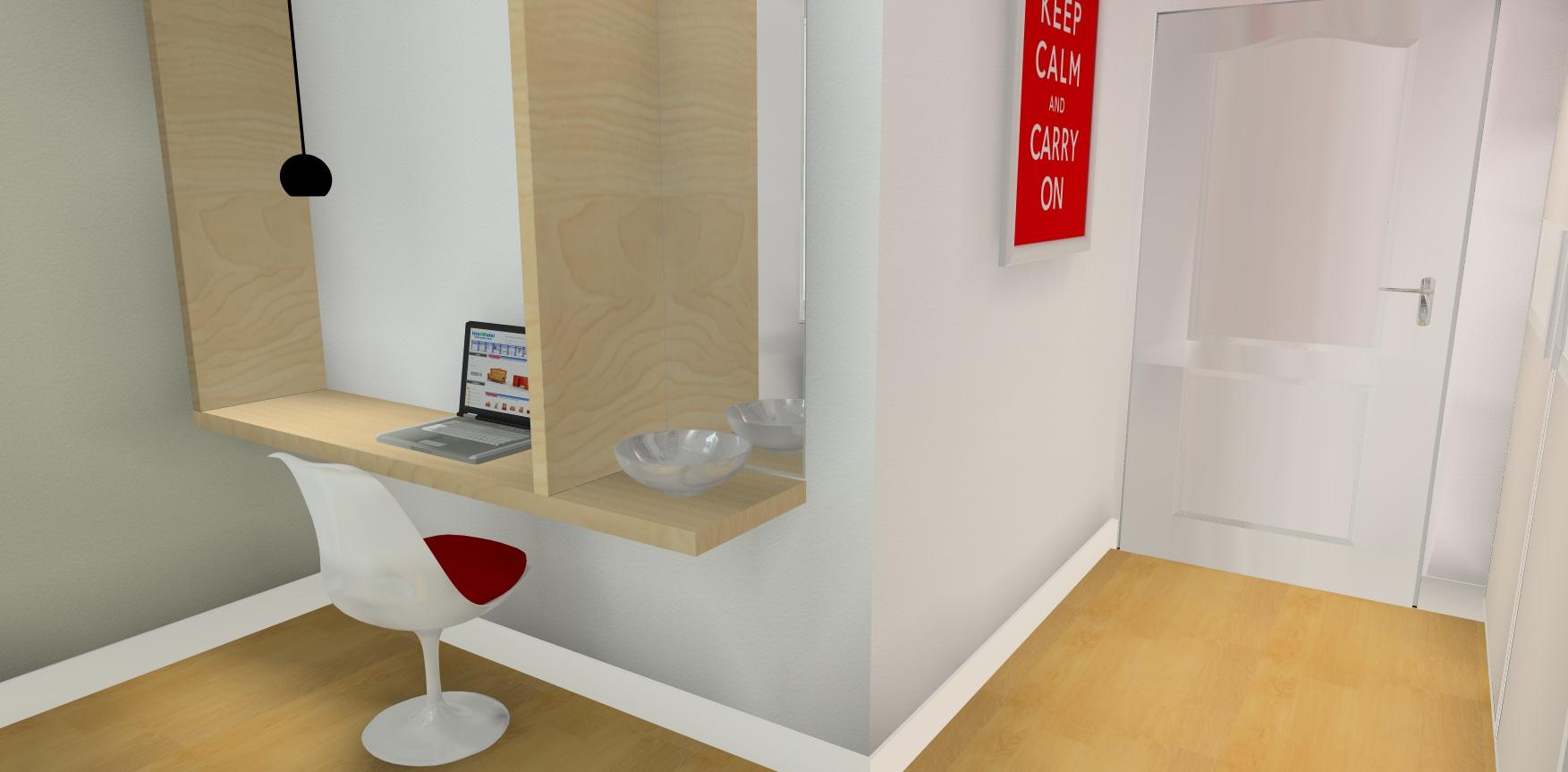 simulation 3d bureau sur mesure en bois