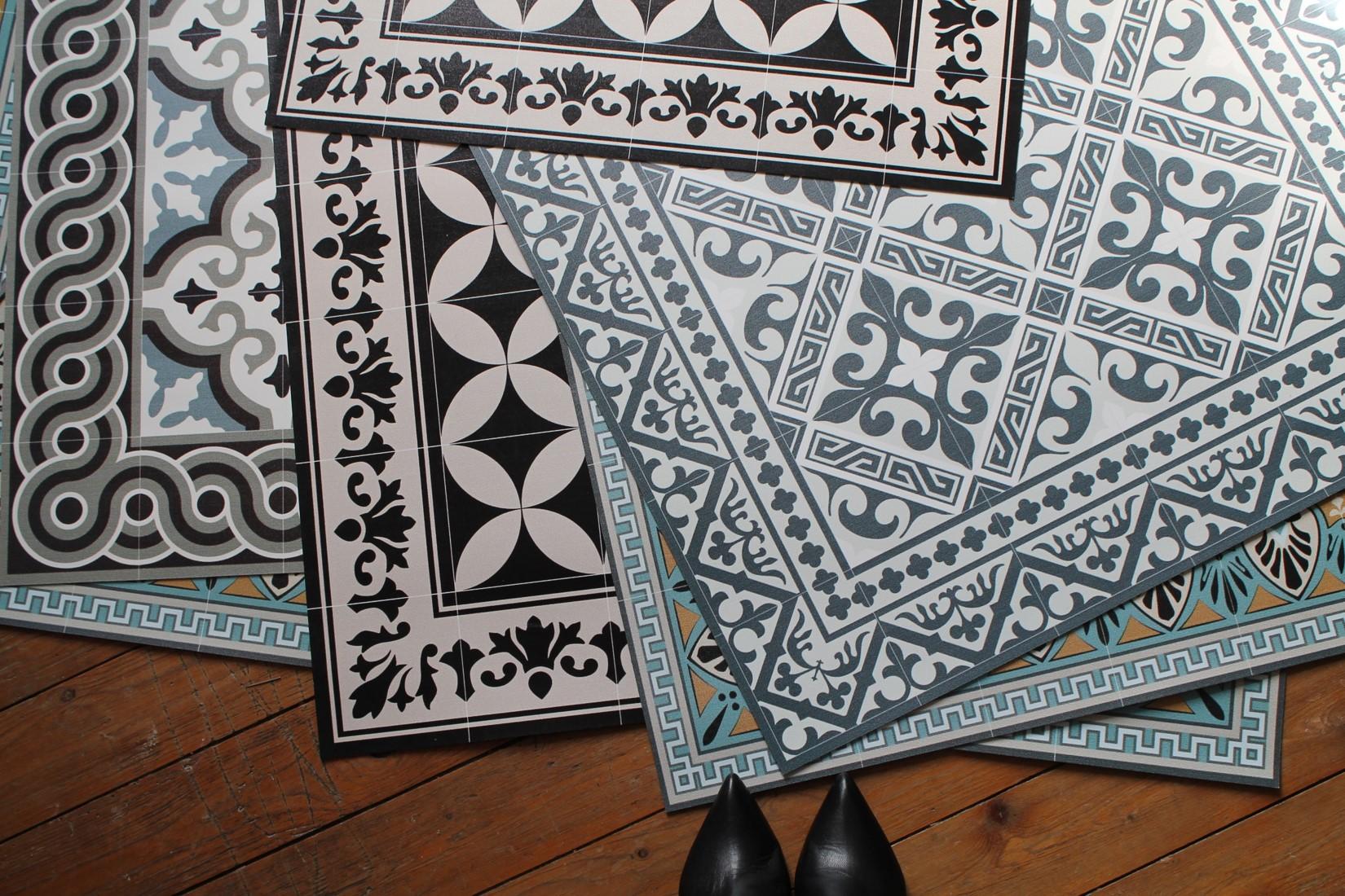 tapis vinyle imitation carreaux de ciment beija flor maison quinze